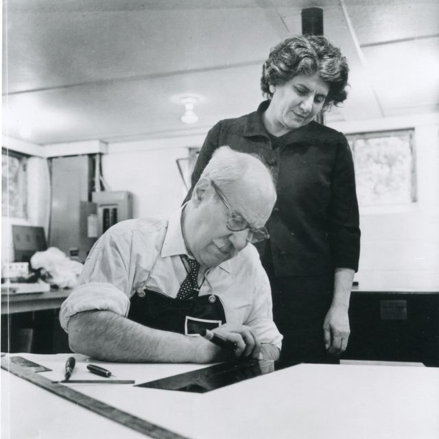 Barnett and Annalee Newman at the graphics workshop ULAE, West Islip, Long Island, November 2, 1968. Photo by Harry Shunk. © J. Paul Getty Trust. Getty Research Institute, Los Angeles
