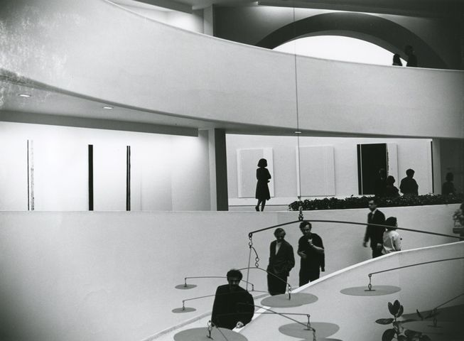 Newman's _The Stations of the Cross: Lema Sabachthani_ at the Solomon R. Guggenheim Museum, New York, 1966. Photo by Robert Murray