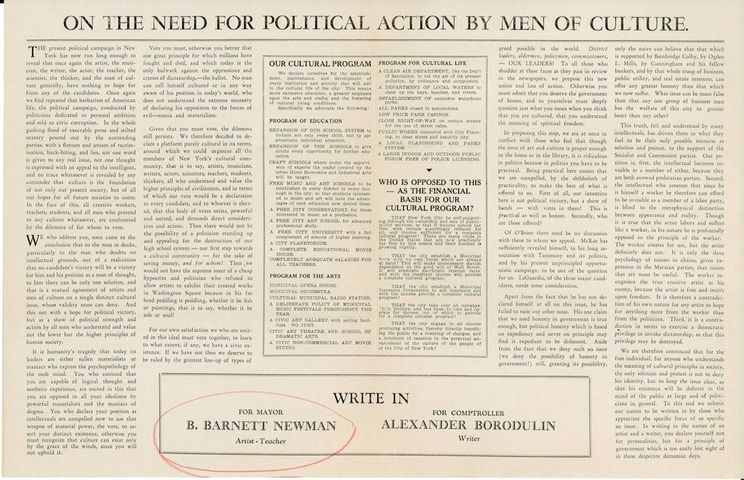 Brochure outlining Newman's campaign for Mayor of New York City, 1933