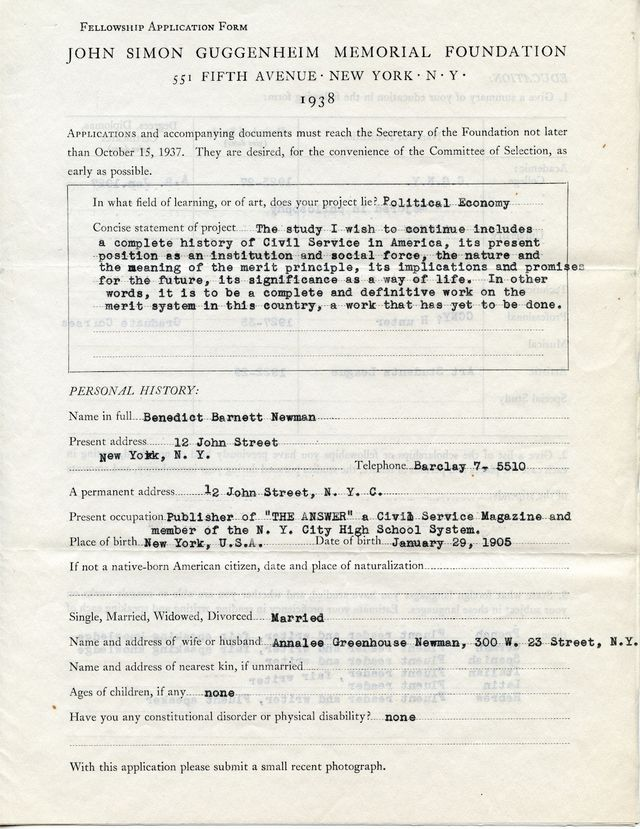 John Simon Guggenheim Memorial Foundation Fellowship application, 1938