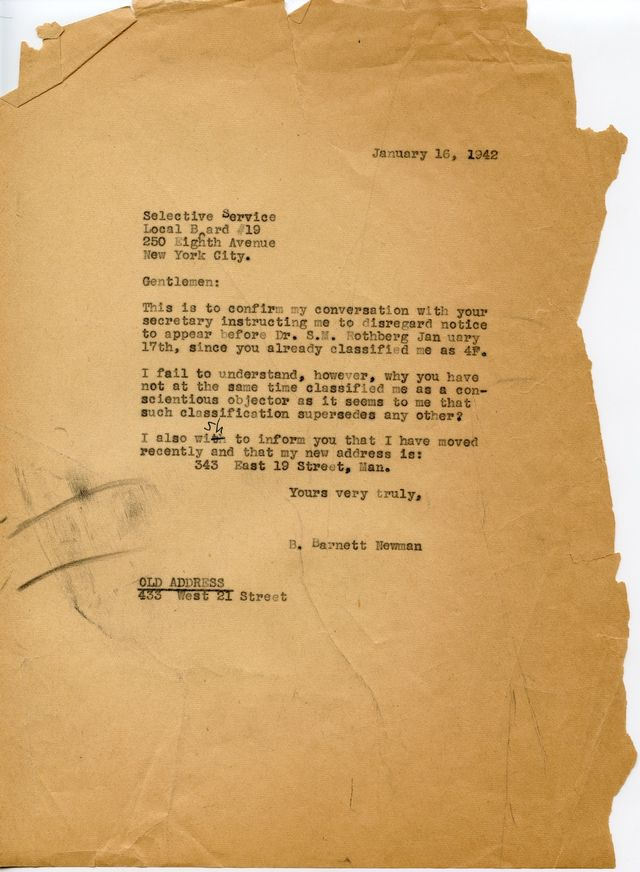 Newman's letter to the Selective Service Board requesting classification as a conscientious objector, 1942