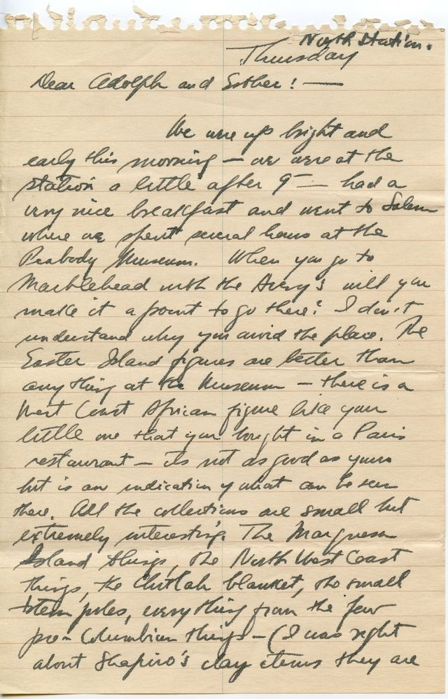 Draft of a letter from Newman to Adolph and Esther Gottlieb about visiting the Peabody Museum