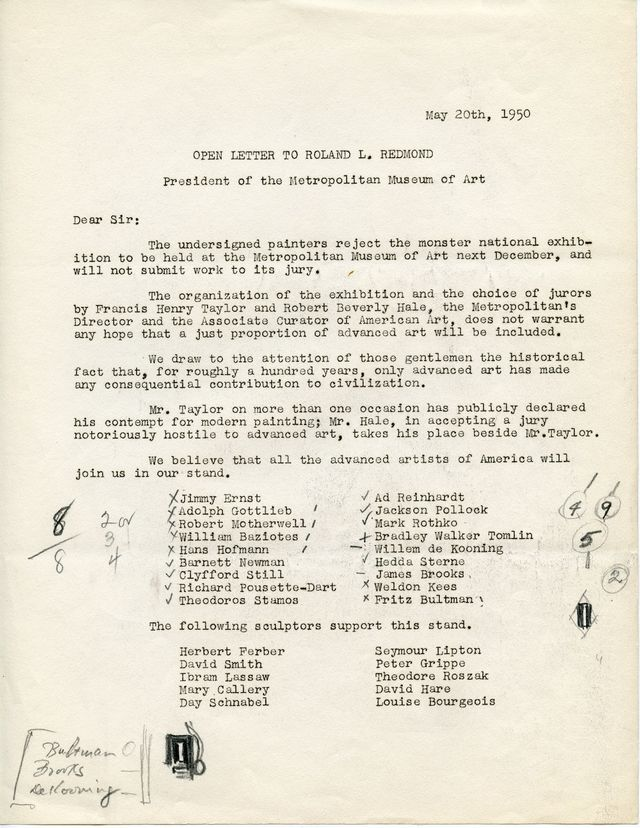 "Newman's copy of an open letter to the President of the Metropolitan Museum of Art, protesting the exclusion of ""advanced art"" from an upcoming survey exhibition, 1950"
