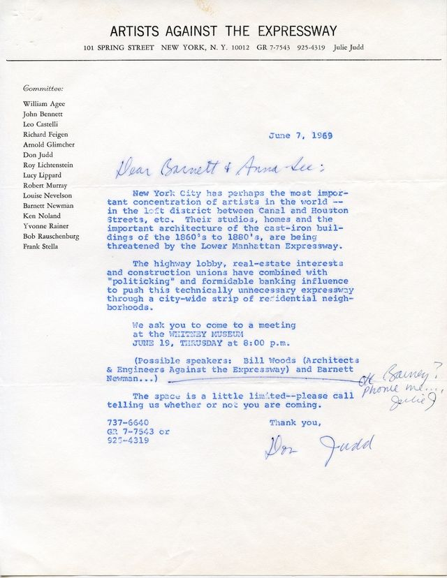Letter from Donald Judd to Newman concerning a meeting hosted by the Artists Against the Expressway committee, 1969