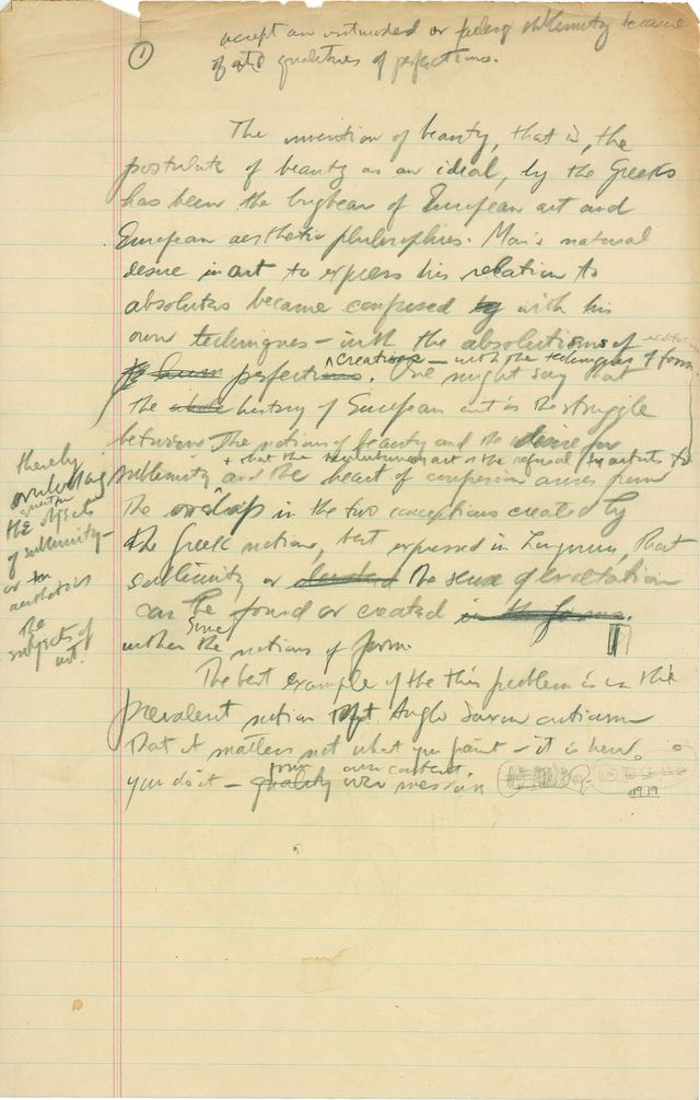 "Draft of ""The Sublime Is Now,"" c. 1948"