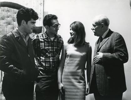 Newman with Larry Poons, Frank Stella, and Laura Grisi. Photo by Lisa Steipes