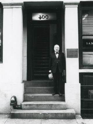 Newman outside his studio at 100 Front Street. Photo by Robert Murray