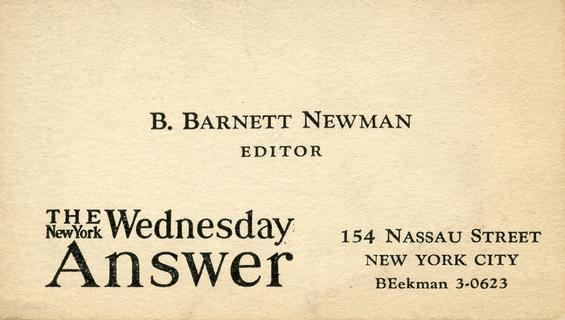 Newman's business card in 1936