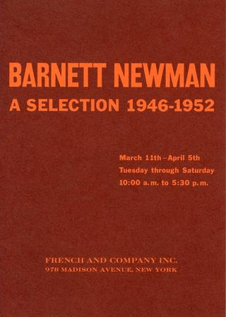Announcement for Newman's exhibition at French and Company, Inc., 1959