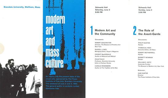 "Brochure for the ""Modern Art and Mass Culture"" symposium at Brandeis University, 1962"