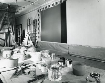 Newman's studio at 35 White Street with _Who's Afraid of Red, Yellow and Blue IV_ (1970), 1970. Photo by Paulus Leeser