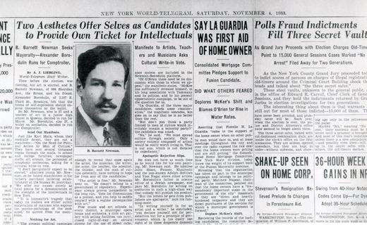 Article in the _New York World-Telegram_ on November 4, 1933, about Newman's candidacy for Mayor of New York