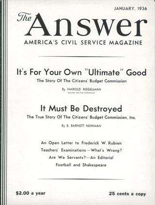 Cover of _The Answer_, January 1936, with article by Barnett Newman